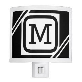 Classy Black & White Simple Square Lined Monogram Night Lite