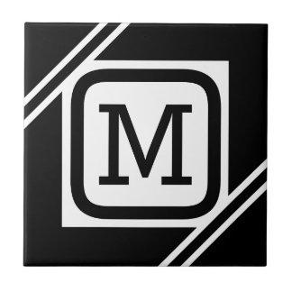 Classy Black & White Simple Square Lined Monogram Tile