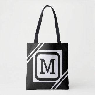 Classy Black & White Simple Square Lined Monogram Tote Bag