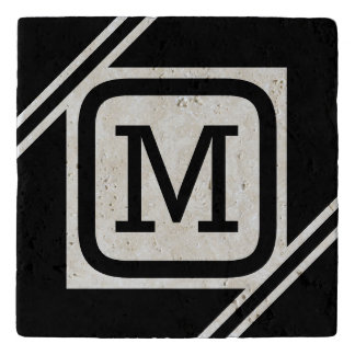 Classy Black & White Simple Square Lined Monogram Trivet