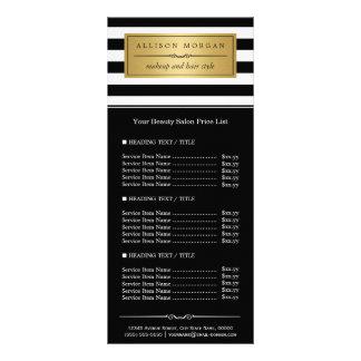 Classy Black White Stripes Golden Label Price List Rack Card