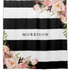 Classy Black White Stripes Vintage Floral Monogram