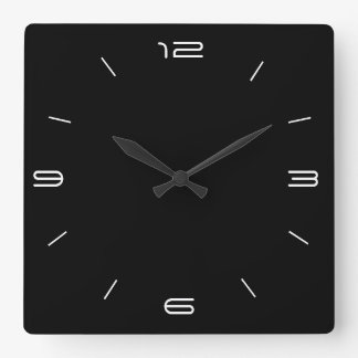 Classy Black with White Numerals> Square Clocks