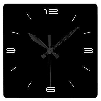 Classy Black with White Numerals> Square Clocks