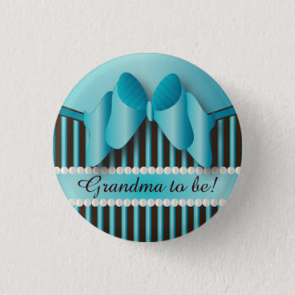 Classy Blue and Brown Stripes 1 Inch Round Button