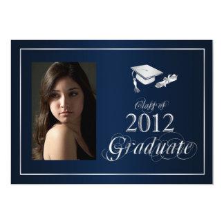 Classy Blue and Silver 2012 Graduate Photo Invite