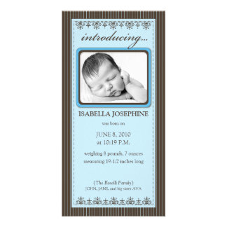 Classy Blue Customized Birth Announcement Customized Photo Card