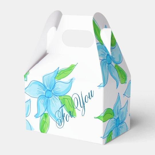 Classy Blue Flowered Guest Favour Favor Box