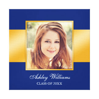 Classy Blue Gold Senior Photo Graduation Canvas Print