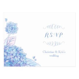 Classy Blue Hydrangeas Wedding RSVP Postcard