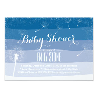 Classy Blue Shades Dandelion Blowing Baby Shower Card