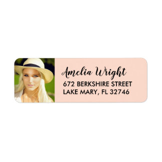 Classy Blush Photo Graduation Return Address