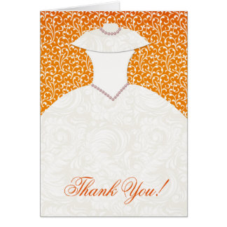 Classy Bridal Shower Thank You Note Card Orange