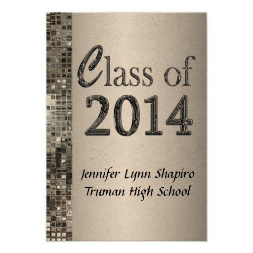 Classy Bronze Tone 2014 Graduation Invitations