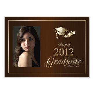 Classy Brown and Gold 2012 Graduate Photo Invite