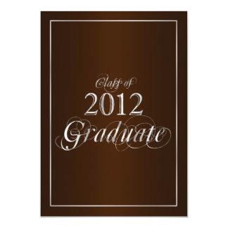 """Classy Brown and Silver 2012 Graduate Invitation 5"""" X 7"""" Invitation Card"""