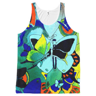 Classy Butterfly Collage Printed All-Over Top