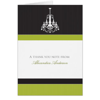 Classy Chandelier Custom Thank You Card (lime)