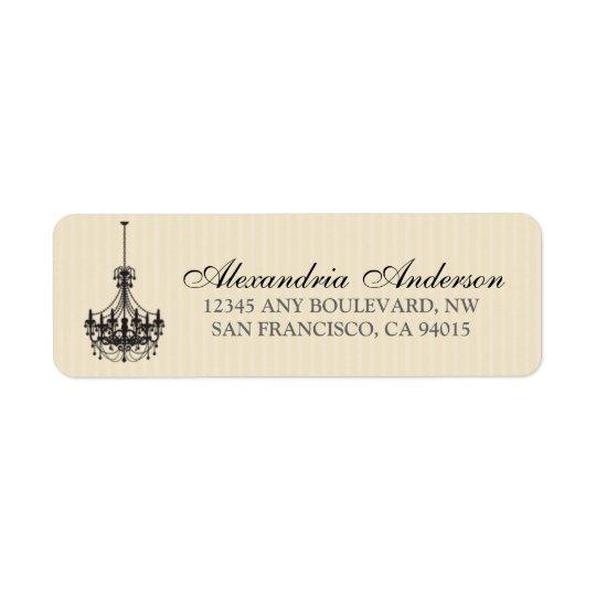 Classy Chandelier Return Address Label (black)