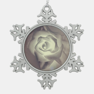 Classy Chic Winter Wedding Rose Pewter Snowflake Ornament