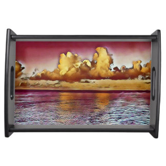 Classy Chic Yellow Rose Seascape Serving Tray