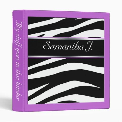 Classy Chic Zebra Print Personalized Purple Binder