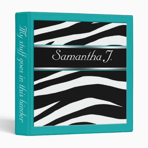 Classy Chic Zebra Print Personalized Teal Binder