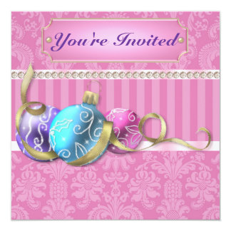 """Classy Christmas Party with Pastel Ornament & Dama 5.25"""" Square Invitation Card"""