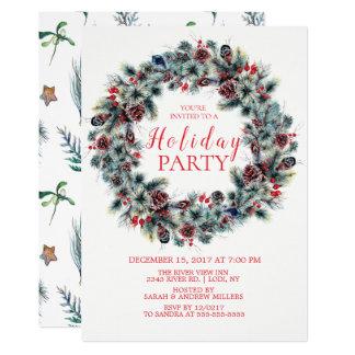 Classy  Christmas Wreath Holiday Party Invitation