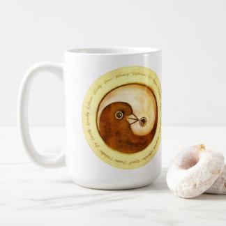 Classy coffee mug Yin Yang gold peace doves