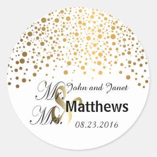 Classy Confetti Gold Dots Classic Round Sticker