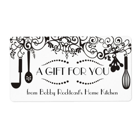 Classy cool ornamental chef catering culinary shipping label
