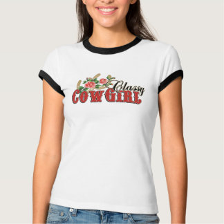 Classy Cowgirl Horseshoes + Roses Design T-Shirt
