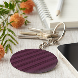 Classy Crimson Stripes - Attractive Red and Purple Basic Round Button Keychain