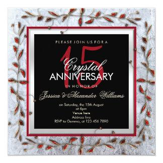 Classy Crystal & Gems 15th Wedding Anniversary Card