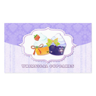 Classy Cute Bakery Cupcake & Damask Business Cards