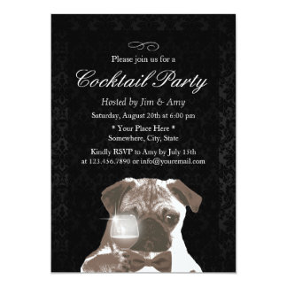 Classy Damask Housewarming Cocktail Party Card