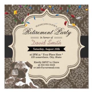 "Classy Damask Pug & Wine Retirement Party 5.25"" Square Invitation Card"