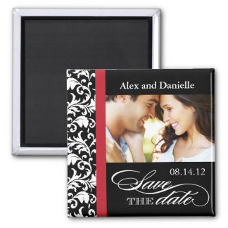 Classy Damask Save the Date with Red Accent Magnet