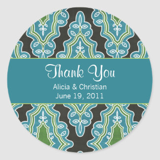 Classy Damask Turquoise Thank You Labels Round Sticker