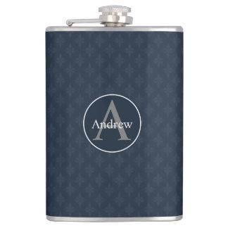 Classy Dark Blue Personalized Flasks