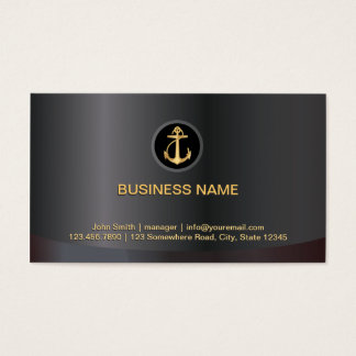 Classy Dark Gold Anchor Marine Business Card
