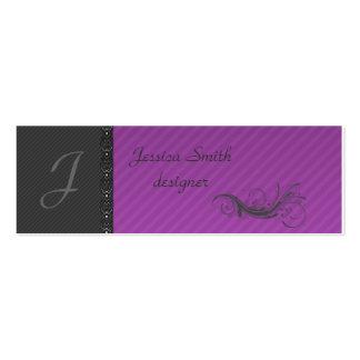 Classy dark gray discrete stripes stylish lase mini business card