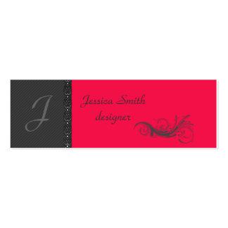 Classy dark gray discrete stripes stylish lase pack of skinny business cards