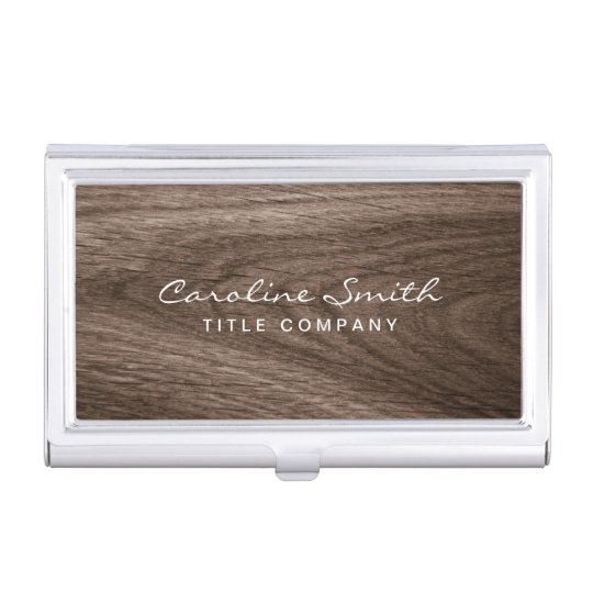 Classy dark oak wood grain personalized name business card cases