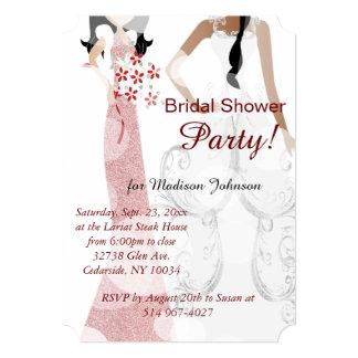 "Classy Dark Red Bridal Gown Shower 5"" X 7"" Invitation Card"