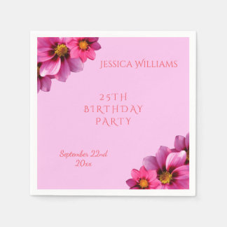 Classy Decorative Corner Dahlias 25th Birthday Disposable Napkins