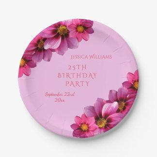 Classy Decorative Corner Dahlias 25th Birthday Paper Plate