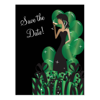 Classy Diva Girl's Party | Save the Date | Green Postcard