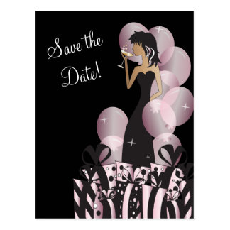 Classy Diva Girl's Party | Save the Date | Pink Postcard